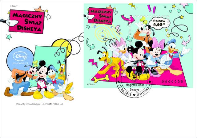 Myszka Miki i przyjaciele na znaczku Poczty Polskiej